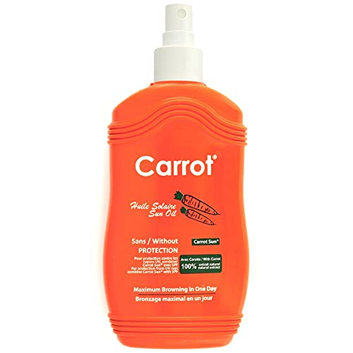 Carrot Sun® Premium Bräunungsbeschleuniger Carrot Oil | Bräunungsspray mit 100% natürlichem | Maximal schnelle Bräunung | 200ml