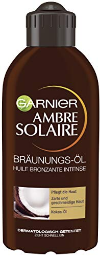 Garnier Bräunungs-Öl für Gesicht und Körper, Pflegendes Sonnen-Öl für schonend gebräunte Haut, Ambre Solaire, Mit Kokos-Duft, 1 x 200 ml