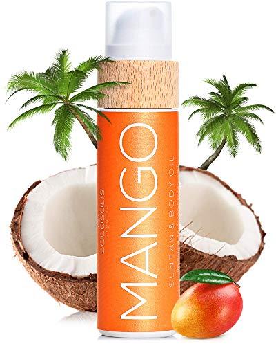 COCOSOLIS Mango Bräunungsbeschleuniger mit Vitamin E, Kakaobutter, Mangobutter - Sonne/Solarium Bräunungsverstärker & Bodylotion Kakao - Bio-Bräunungsöl mit 6 Kostbare Öle - 110 ml