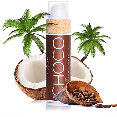 COCOSOLIS Choco Bräunungsbeschleuniger mit Vitamin E, Kakaobutter - Bräunungscreme & Bodylotion Kakao - Bio-Bräunungsöl mit 6 Kostbare Öle - 110 ml